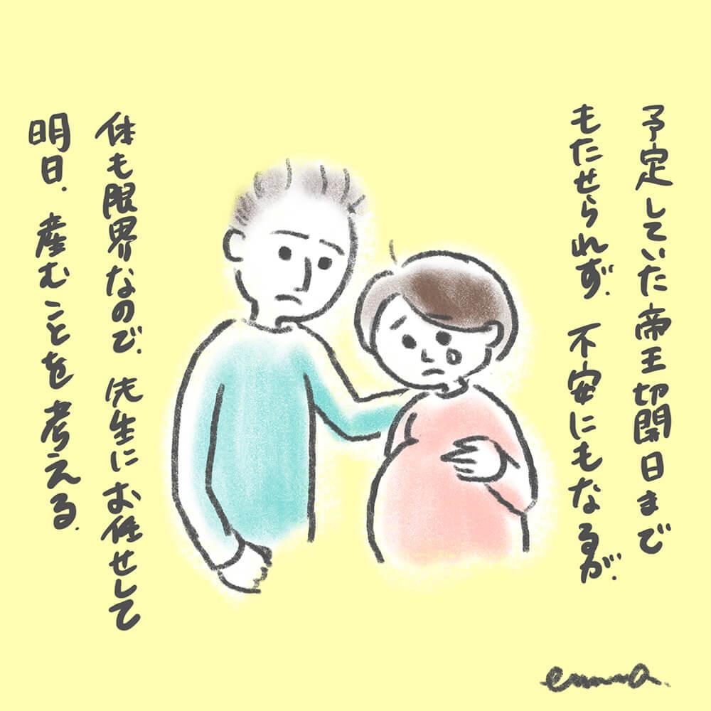 予定していた帝王切開手術日までもたせられず、不安にもなるが、体も限界なので先生にお任せして、翌日出産することを決める